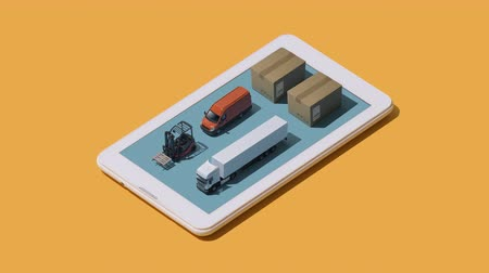 forklift : International product delivery and shipment app: isometric parcels and trucks on a smartphone