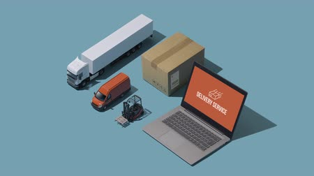 доставлять : Professional express delivery, warehousing and shipment service: isometric trucks, boxes and laptops