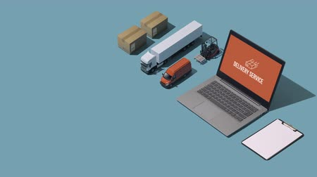 jelölőnégyzetet : Professional express delivery, warehousing and shipment service: isometric parcels, trucks and laptops
