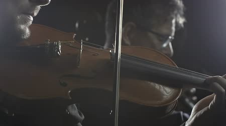 виолончель : Professional philharmonic orchestra playing on stage, a cellist and a violinist are performing together Стоковые видеозаписи