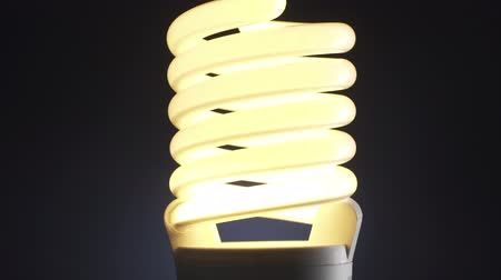 insight : Energy saving CFL lamp turning on and off on dark background, innovation and energy efficiency concept