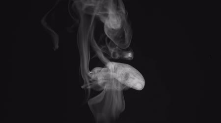 black and white : Smoke rising and flowing on dark background, pollution and gas concept Stock Footage
