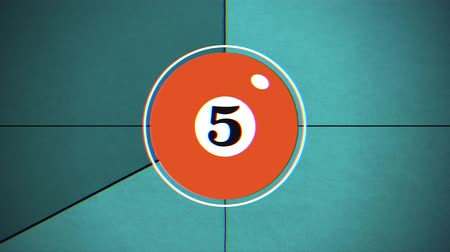 countdown leader : Old movie countdown leader with colorful billiard balls and numbers, flickering frames
