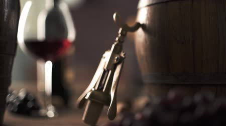 winemaking : Wine tasting in the cellar: wineglass, barrel and vintage corkscrew