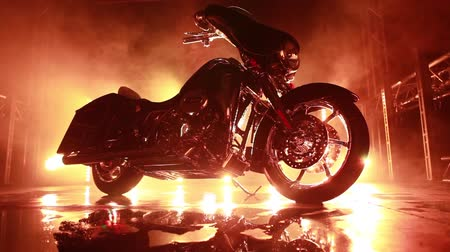 escape : motorbike with fire background Stock Footage