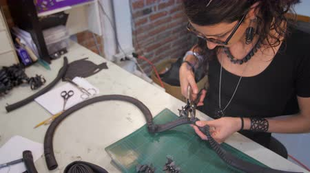 Jewelry maker making holes slide Stok Video