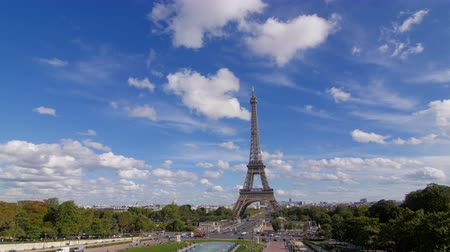 industrialization : Tour Eiffel and blue sky pan Stock Footage