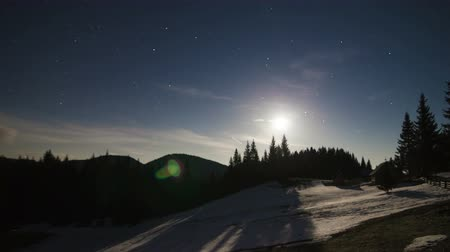 dağ evi : Night winter time lapse in a mountain wood with snow