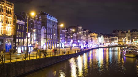time flow : Time laspe of a canal in Amsterdam in the night