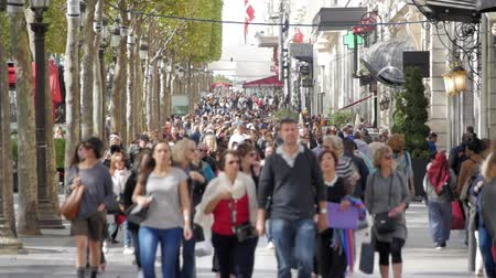 europe population : Slow motion of crowded street people walking