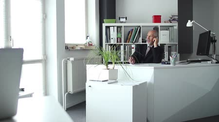 банк : Business man talking over the phone in his office
