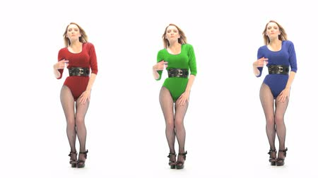 A set of three colour variations of a sexy blonde dancer wearing a leotard with hands raised to head.