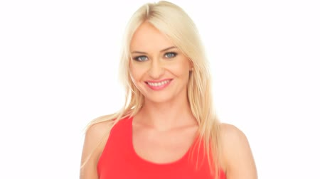 красные волосы : blonde woman in red top smiling on white