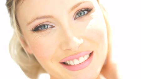 уход за кожей : happy beauty woman with blue eyes smiling on white