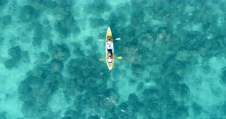 kayak : Aerial shot of couple kayaking in turquoise sea during summer day. Travel tropical island holiday concept Stock Footage