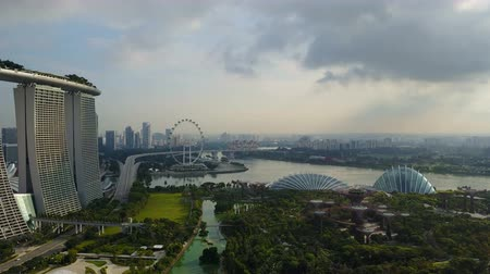 skypark : 4k erial fly-over view of Gardens By The Bay, Singapore. Featuring Supertree Grove, Cloud Forest and Flower Dome
