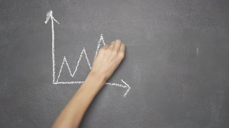 borracha : Womans hand drawing line chart showing increase with smiling face and Bitcoin symbol with white chalk on blackboard Stock Footage