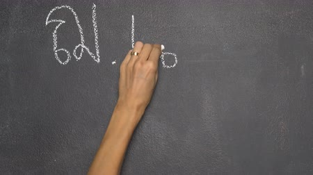 borracha : Womans hand writing Thai letter with white chalk on blackboard