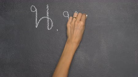 nu : Womans hand writing Thai letter with white chalk on blackboard