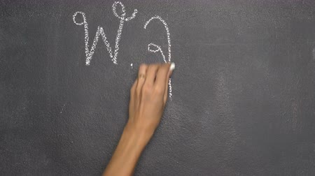 pólo : Womans hand writing Thai letter with white chalk on blackboard