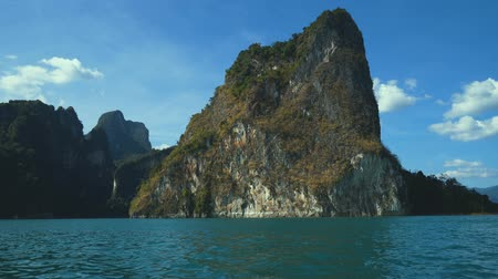 surat : Boat trip to Khao Sok National Park, Thailand - video in slow motion