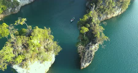 surat : Aerial drone view of beautiful limestone rocks at the lake in Khao Sok National Park, Surat Thani, Thailand Stock Footage