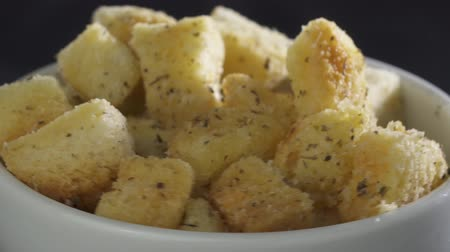 crostini : Homemade croutons from white bread in bowl