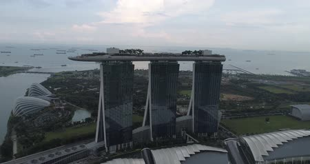 sand bank : Aerial top drone view of Singapore Marina Bay during cloudy day, Singapore