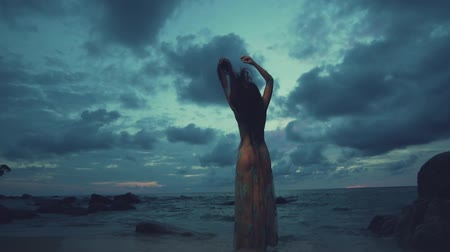 bohyně : Back view of beautiful mysterious woman in long dress at the sandy beach near rocks over sea and cloudy sunset sky background - video in slow motion Dostupné videozáznamy