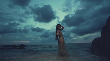 ninfa : Beautiful mysterious woman in long dress at the sandy beach near rocks over sea and cloudy sunset sky background - video in slow motion Vídeos