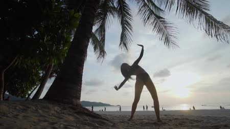 büyülü : Bottom view of beautiful woman in black swimwear dancing on the sandy beach during sunset over palm tree and sky background - video in slow motion