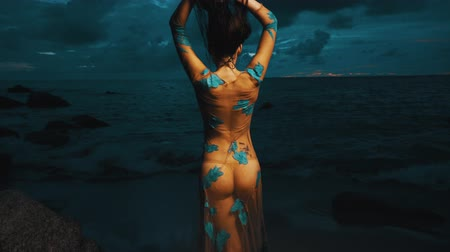 mermaid : Back view of beautiful mysterious woman in long dress at the sandy beach near rocks over sea and cloudy sunset sky background
