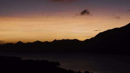 zumbido : View of Batur lake at beautiful sunrise in Bali, Indonesia Vídeos