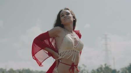 znicz : Beautiful young woman in red transparent dress posing in rice field over cloudy sky background - video in slow motion