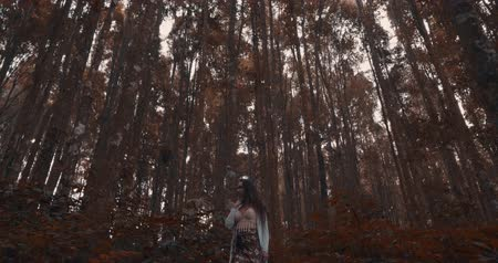 gizemli : Beautiful brunette woman walking in hazy tropical mountain forest - video in slow motion Stok Video