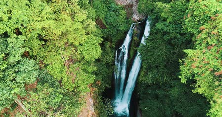 rain forest : Aerial drone view of beautiful Aling Aling waterfall in nothern Bali, Indonesia