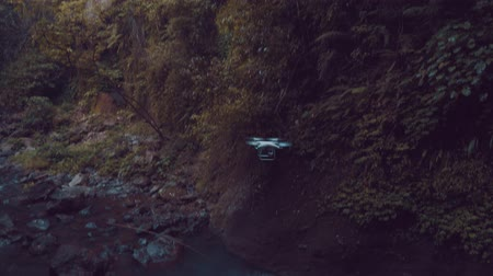 zumbido : Footage of drone flying in the tropical jungle rain forest near the waterfall Vídeos