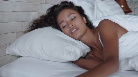 underwear : Portrait of beautiful lady waking up in the morning Stock Footage