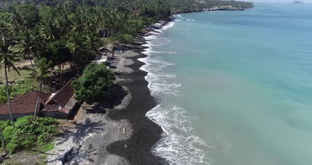 glittery : Aerial drone view of tropical beach on the island of Bali, Indonesia