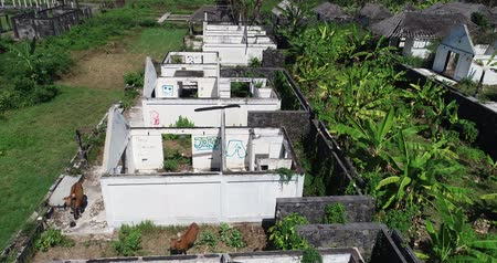 ruins : Aerial drone view of abandoned houses on tropical island of Bali, Indonesia