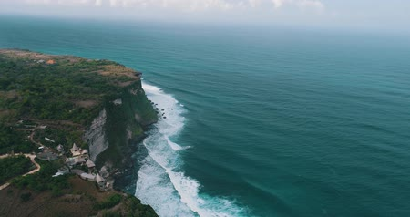 sahte : Aerial drone view of beautiful Uluwatu cliffs in Bali, Indonesia Stok Video