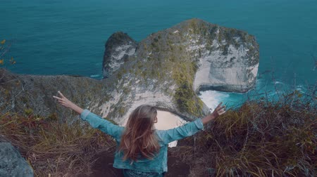 antenas : Back view of girl sitting on the cliff and raising hands over beautiful Kelingking Beach cliffs background in Nusa Penida, Bali, Indonesia Stock Footage