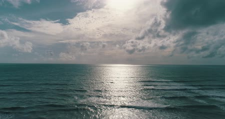 körképszerű : Aerail drone view of beautiful sea over cloudy sky background