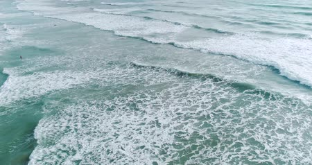 сильный : Aerial drone view of sea waves of the tropical island coastline