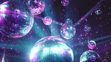 yavaş : Beautiful mirror balls rotates under the ceiling. Night disco party concept Stok Video
