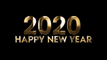 полночь : 2020 Happy New Year - text animation with gold letters over black background Стоковые видеозаписи