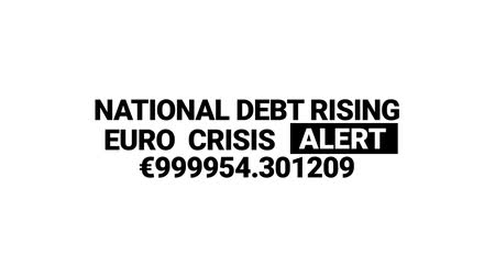 konkurzu : National dept rising. Euro crisis alert counter animation