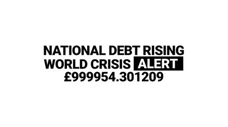 falido : National dept rising. Pound crisis alert counter animation Stock Footage