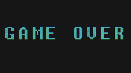шансы : GAME OVER - text animation with green letters over black background