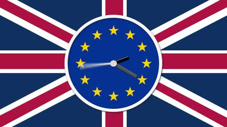 elválasztás : Animated clock face counting down. Brexit UK EU referendum concept with flags and clock Stock mozgókép